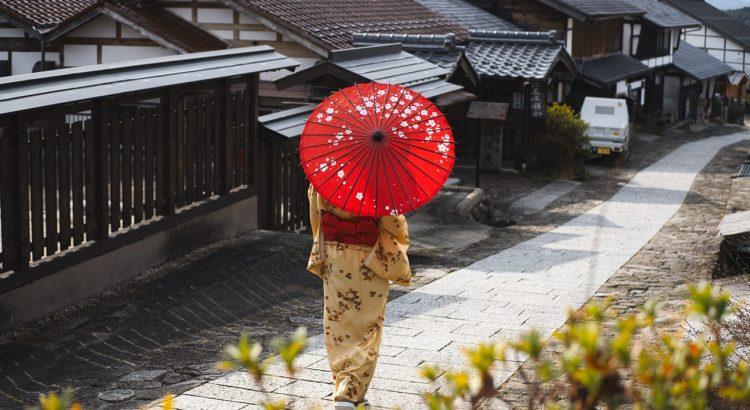 lady walking japan